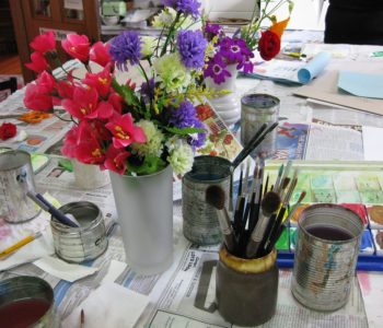 Wazon kwiaty malowanie farby