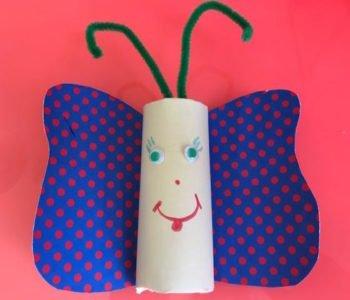 Motylek z rolki po papierze toaletowym