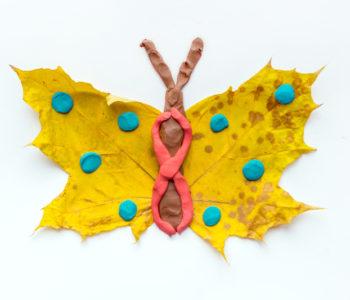 Motyle z jesiennych liści – łatwa zabawa plastyczna