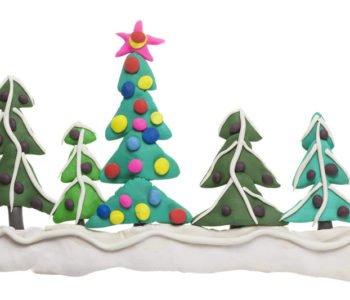 Zimowy las – wyklejanka z plasteliny