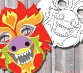 maska chińskiego smoka szablon do druku