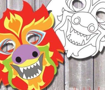 Maska chińskiego smoka – szablon