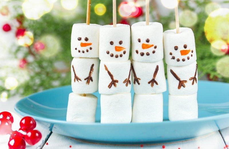bałwanki z marshmallows