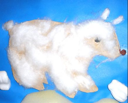 Polarny niedźwiedź - zabawa plastyczna dla dzieci