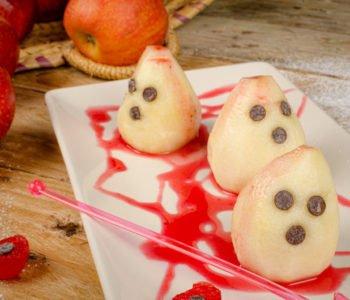 przepis na słodkie duchy z gruszek na Halloween