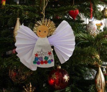 anioł choinka święta boże narodzenie dekoracja papier