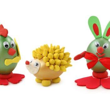 Wielkanocne pisanki – ptaszek, jeżyk, zajączki