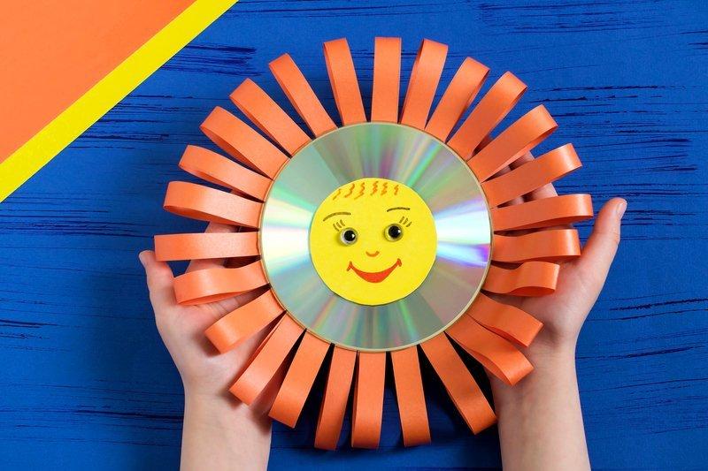 słoneczko ze starej płyty CD lub DVD