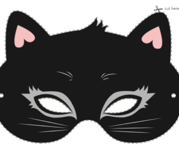 Maska kota na karnawałowy bal dla dzieci. Szablon