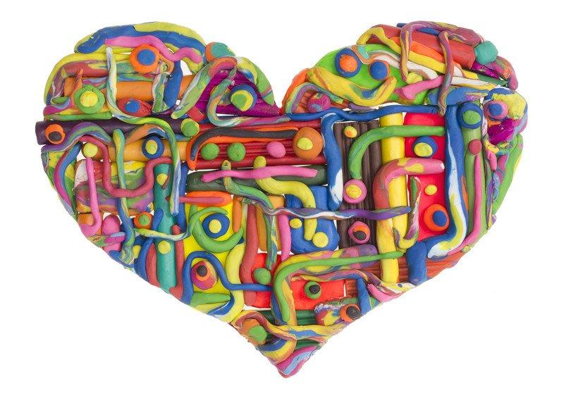 Serce z plasteliny na Dzień Babci i Dziadka