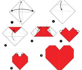 Origami – kartka walentynkowa
