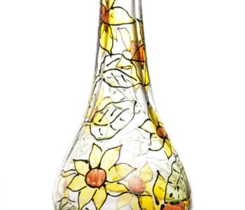 Malowana szklana butelka – wazonik