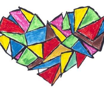 Wielobarwne serduszko – mozaikowa laurka