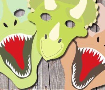 Maski dinozaurów Triceratops i T-rex – szablony do druku
