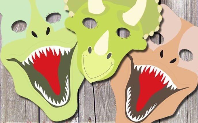 maska dinozaura do druku szablon