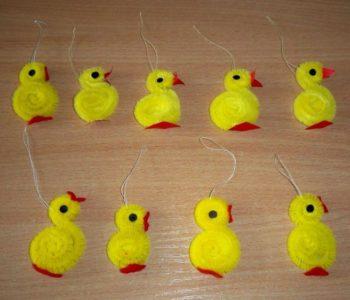 """Wielkanocne kurczaczki z fizeliny i drucików """"frotek"""""""