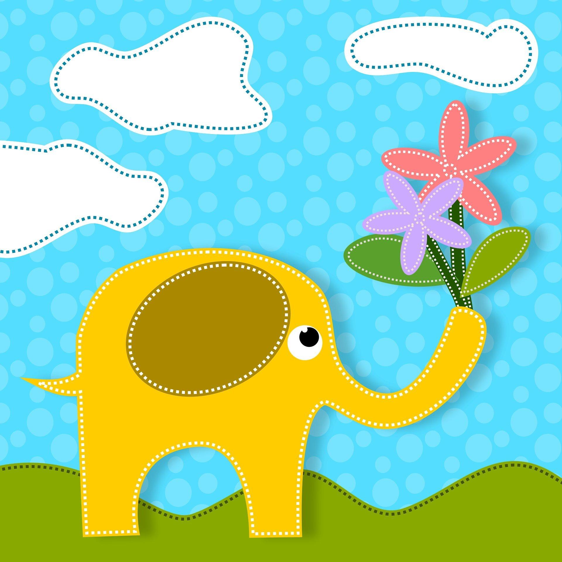 Cztery słonie, piosenka dla dzieci, tekst i melodia