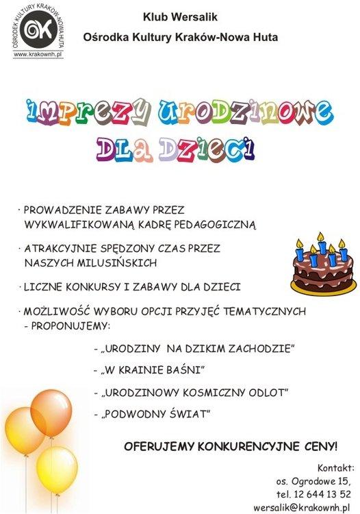 W Klubie Wersalik – organizacja imprez urodzinowych dla dzieci