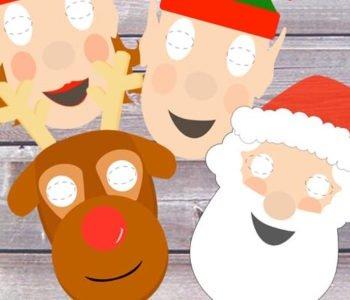 Świąteczne maski – Mikołaj, Rudolf i elfy – szablony do wydruku