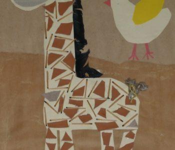 Wesoła żyrafa – wyklejanka z kawałków materiału