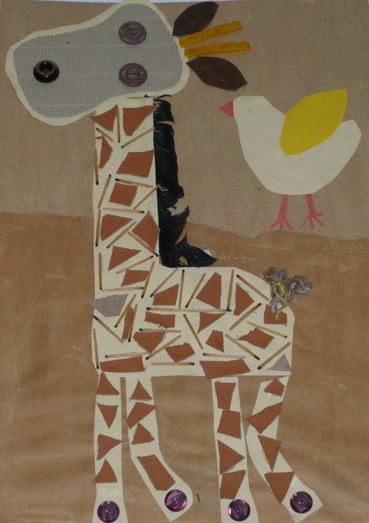 Wesoła żyrafa Wyklejanka Z Kawałków Materiału