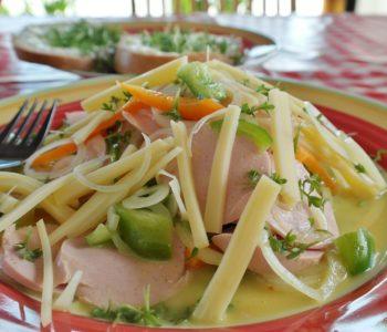 przepis sałatka kuchnia gotowanie ser szynka