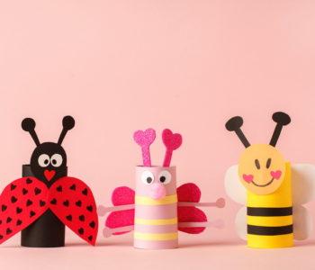 Wiosenne owady – biedronka, pszczółka z rolek po papierze toaletowym
