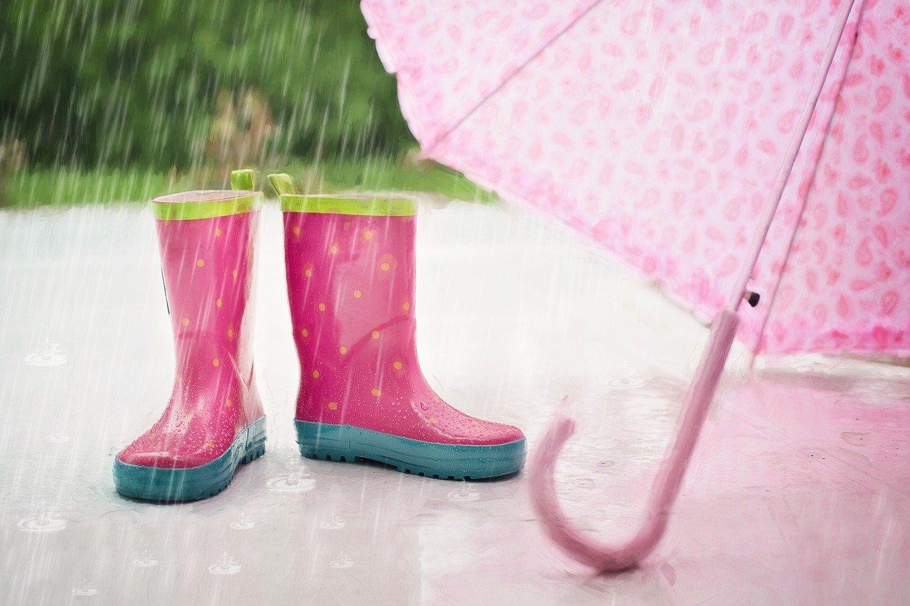 pixabay deszcz parasol dziecko kalosze