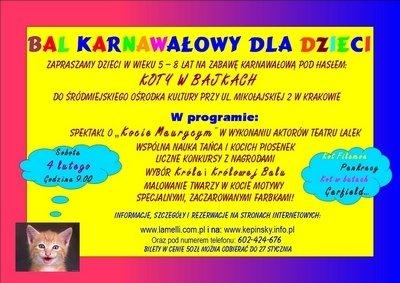 Bal karnawałowy dla dzieci w Krakowie