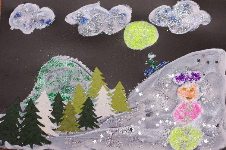 Zimowe-pejzaże malowanie pastą do zębów