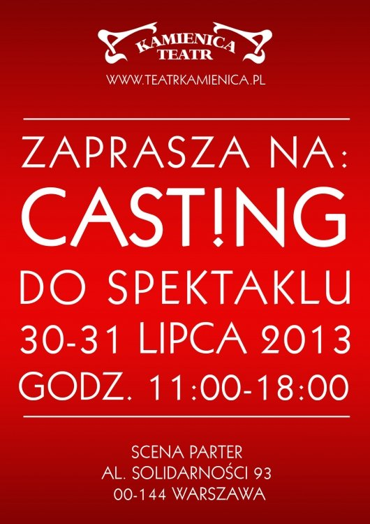 Casting w Teatrze Kamienica