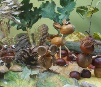 Leśna rodzinka – ludziki z kasztanów i żołędzi