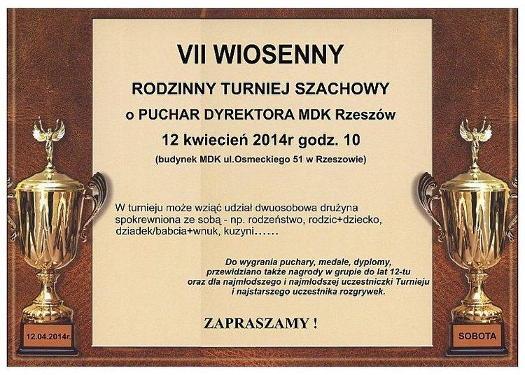 VII Wiosenny Rodzinny Turniej Szachowy o puchar Dyrektora MDK – Rzeszów