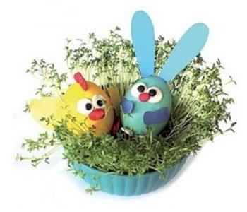Wielkanocny koszyczek z kurczaczkiem i zajączkiem