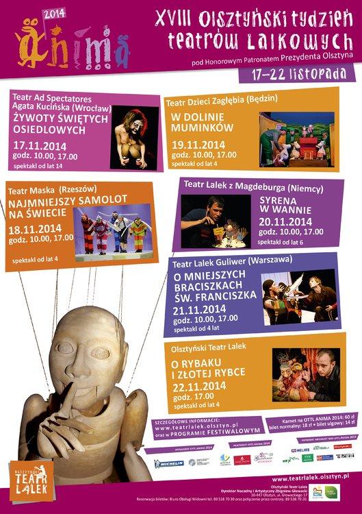 XVIII Olsztyński Tydzień Teatrów Lalkowych ANIMA 17-22 listopada 2014