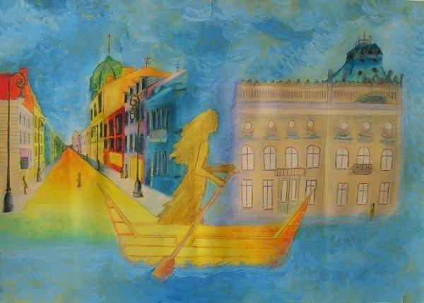 obraz kobieta w łodzi przegląd piosenki o Łodzi