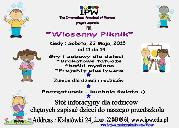 Wiosenny Piknik w The International Preschool of Warsaw