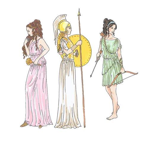 trzy postacie bogów greckich
