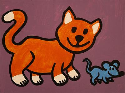 rysunek kotek i mysz