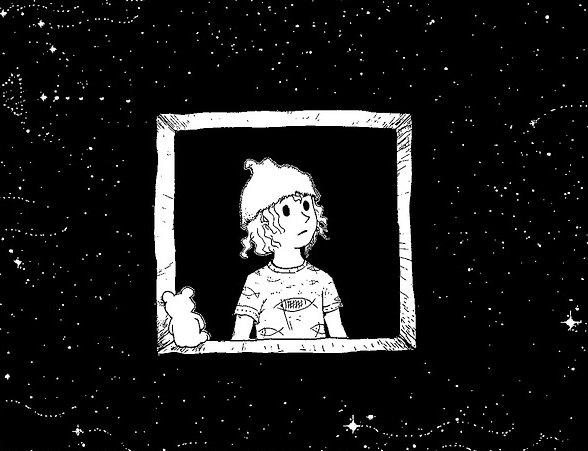 chłopiec w czarnym oknie