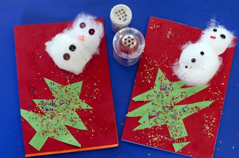 Bałwanek na kartce świątecznej, Zabawy plastyczne dla dzieci