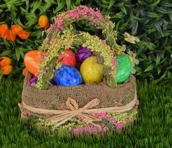 wielkanocny koszyk jajka pisanki