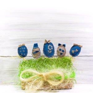 Ozdoby wielkanocne na patyku jajka z materiału