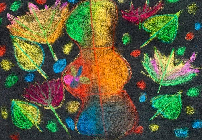 malowanie na czarnym tle liście jesień