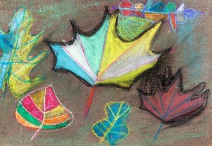 rysunek kolorowe liście