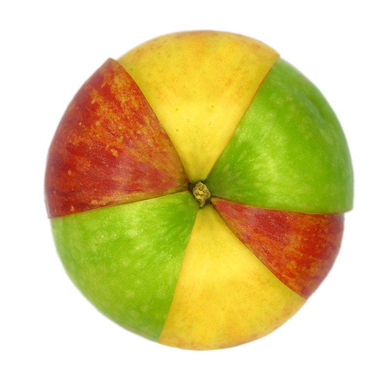 kolorowe jabłko na Prima Aprilis