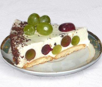Przepis na ciasto w grochy – bez pieczenia, z winogronami