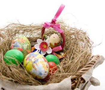 Stroik w koszyczku Wielkanocna dekoracja
