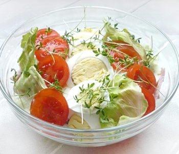 Sałatka  z jajkami, pomidorami i rzeżuchą – przepis