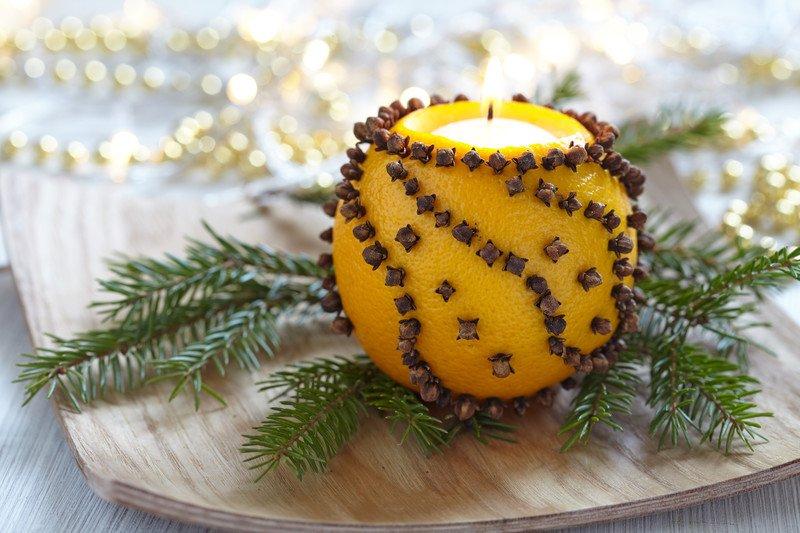 świecznik z pomarańczy jak zrobić, zabawy świąteczne dla dzieci